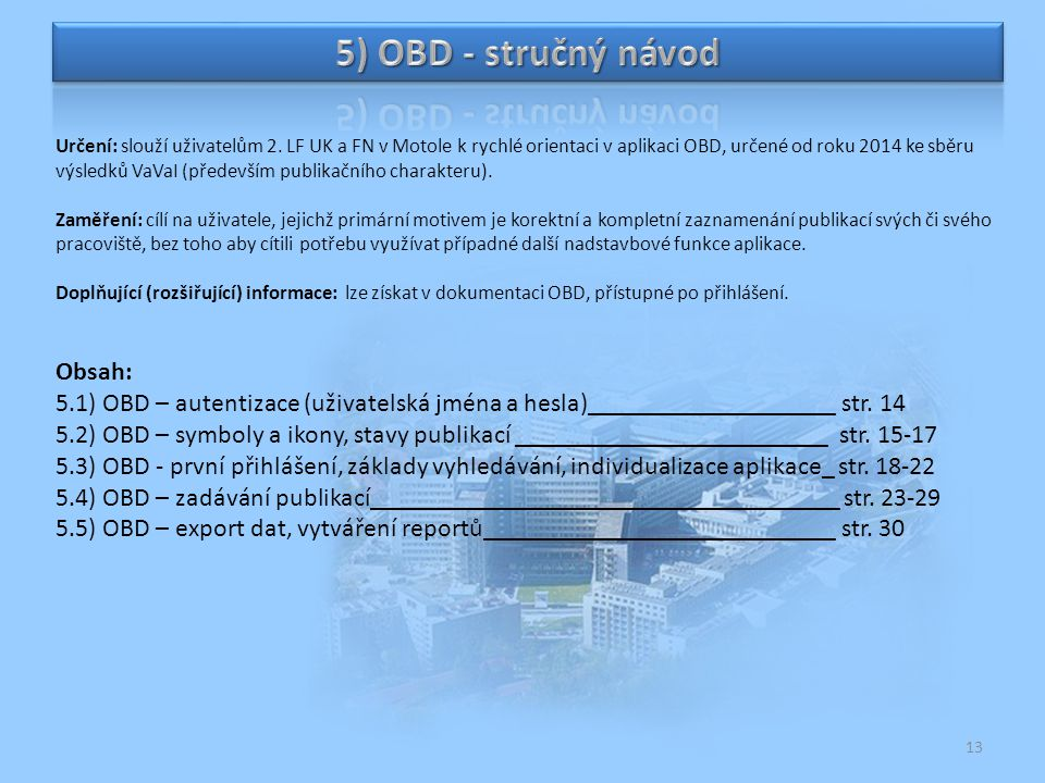 5) OBD - stručný návod Obsah: