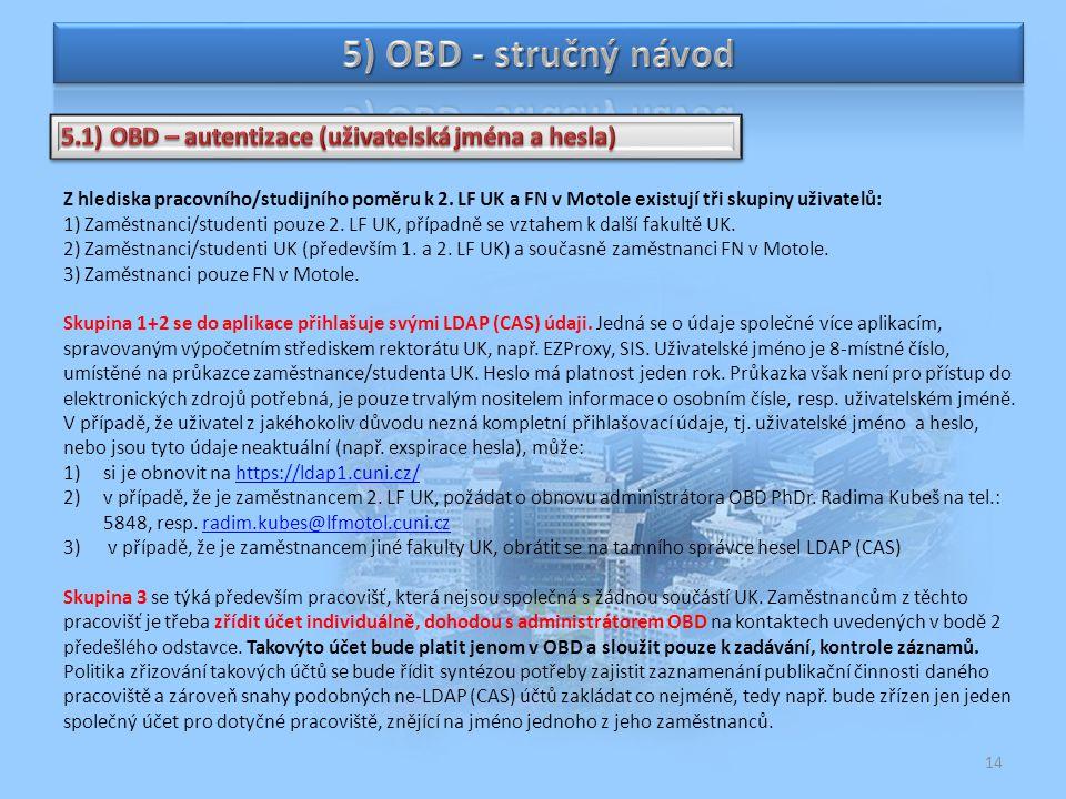 5) OBD - stručný návod 5.1) OBD – autentizace (uživatelská jména a hesla)