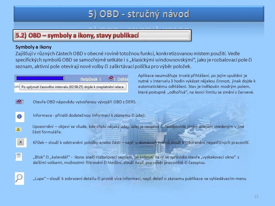 5) OBD - stručný návod 5.2) OBD – symboly a ikony, stavy publikací