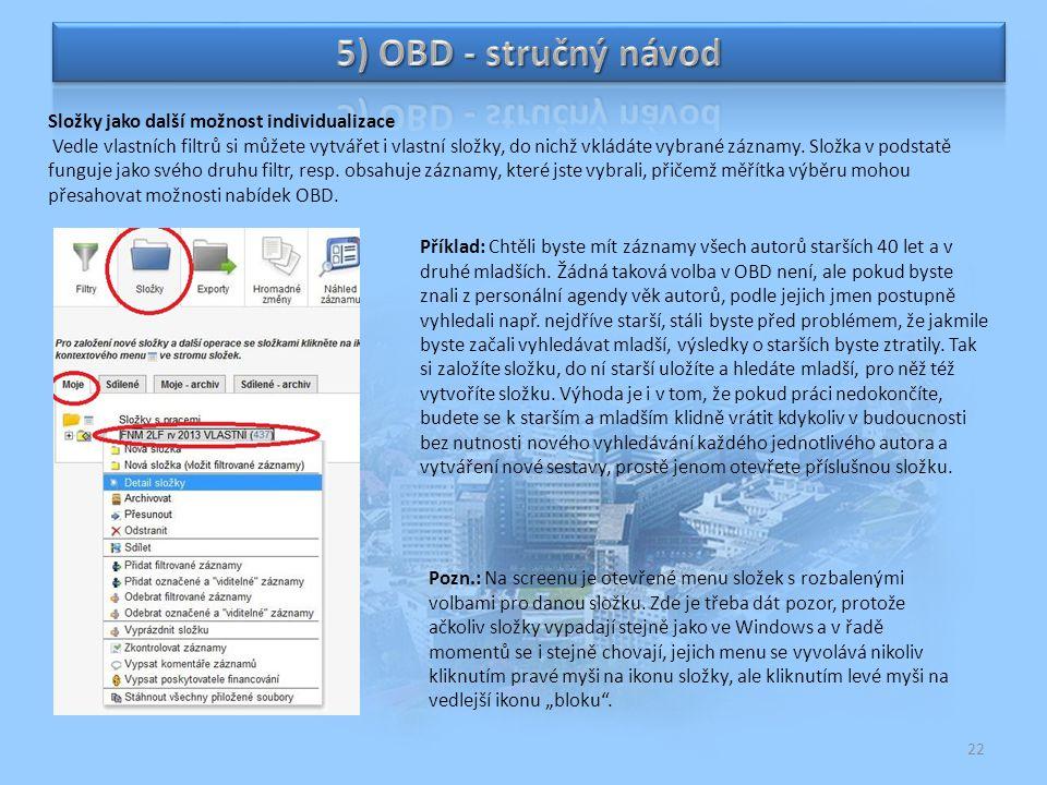 5) OBD - stručný návod Složky jako další možnost individualizace