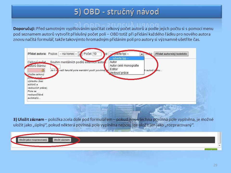 5) OBD - stručný návod