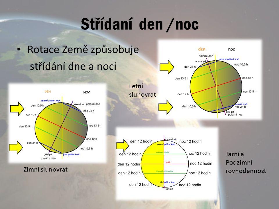Střídaní den /noc Rotace Země způsobuje střídání dne a noci Letní