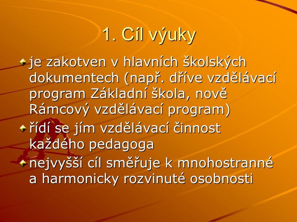1. Cíl výuky je zakotven v hlavních školských dokumentech (např. dříve vzdělávací program Základní škola, nově Rámcový vzdělávací program)