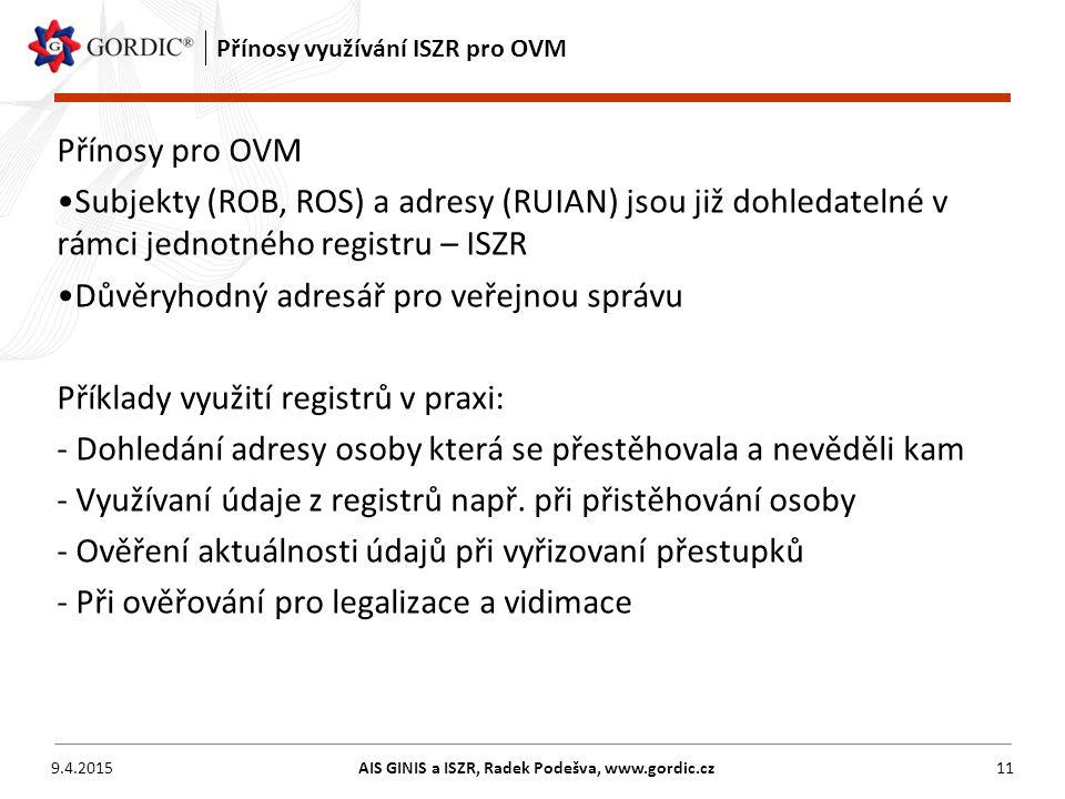 Přínosy využívání ISZR pro OVM