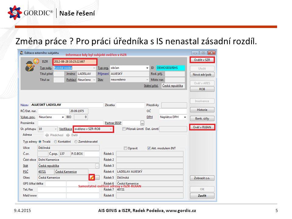 AIS GINIS a ISZR, Radek Podešva, www.gordic.cz