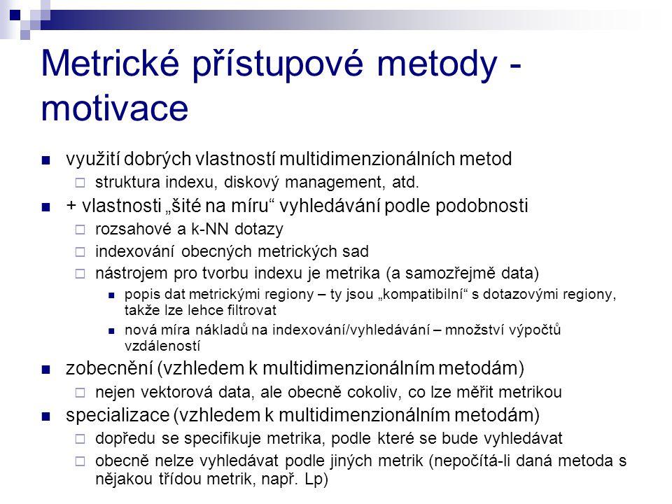 Metrické přístupové metody - motivace