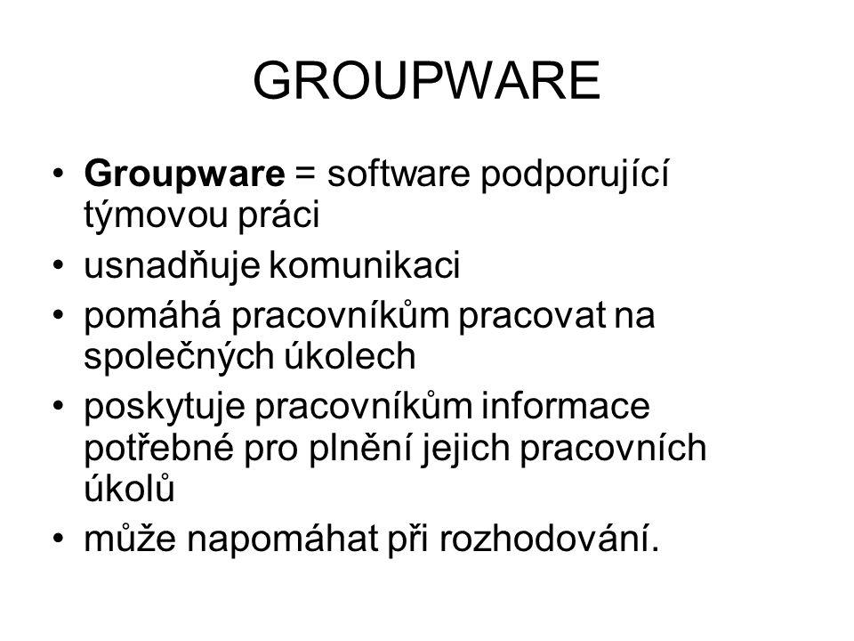 GROUPWARE Groupware = software podporující týmovou práci