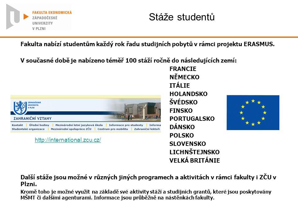 Stáže studentů Fakulta nabízí studentům každý rok řadu studijních pobytů v rámci projektu ERASMUS.