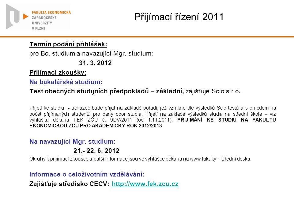 Přijímací řízení 2011 Termín podání přihlášek: