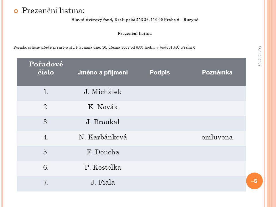 Hlavní úvěrový fond, Kralupská 553 26, 110 00 Praha 6 – Ruzyně