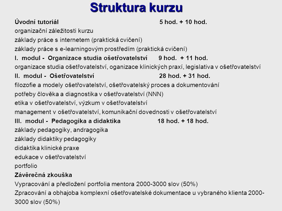Struktura kurzu Úvodní tutoriál 5 hod. + 10 hod.