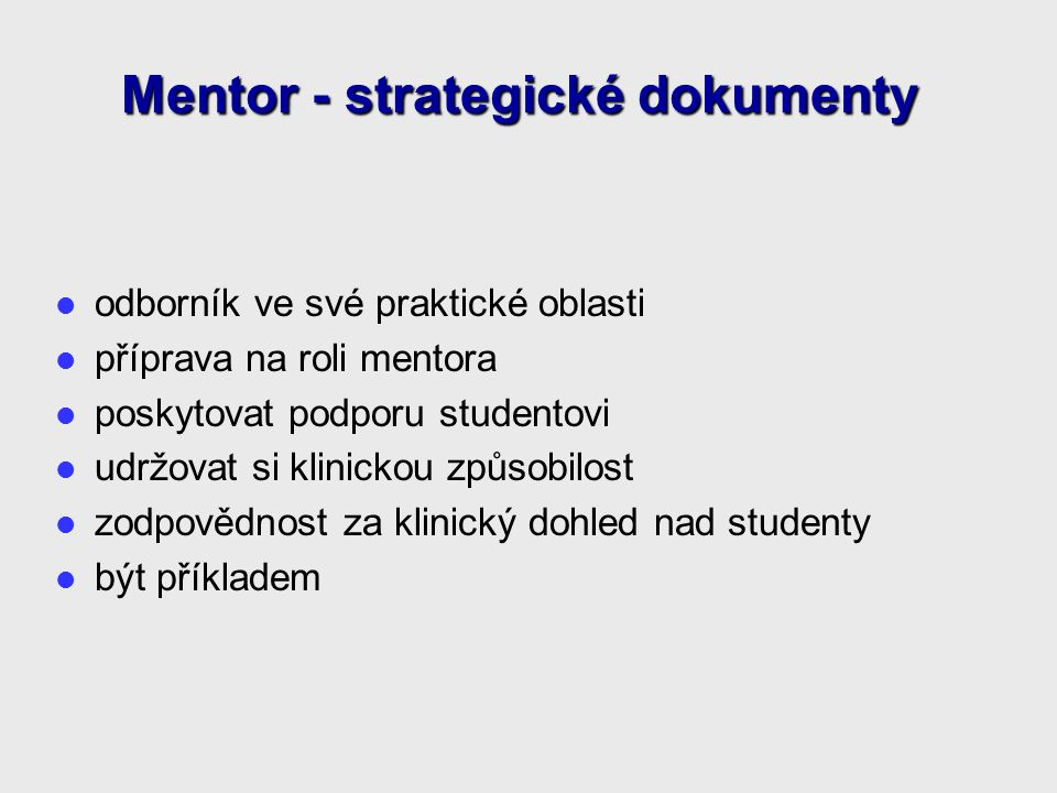 Mentor - strategické dokumenty