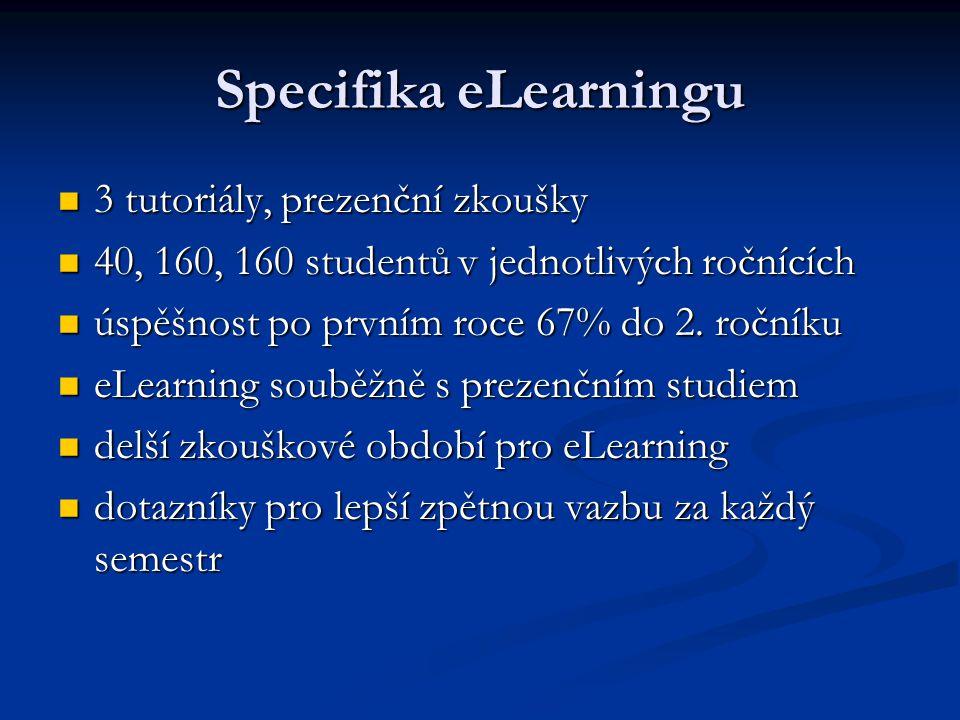 Specifika eLearningu 3 tutoriály, prezenční zkoušky