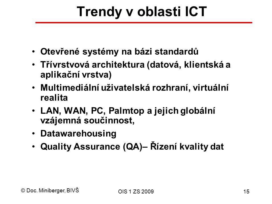 Trendy v oblasti ICT Otevřené systémy na bázi standardů