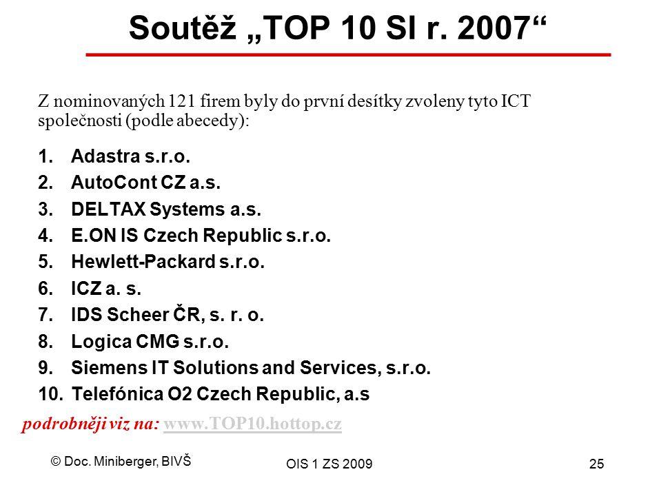 """Soutěž """"TOP 10 SI r. 2007 Z nominovaných 121 firem byly do první desítky zvoleny tyto ICT společnosti (podle abecedy):"""