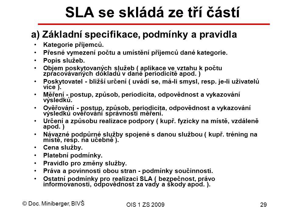 SLA se skládá ze tří částí