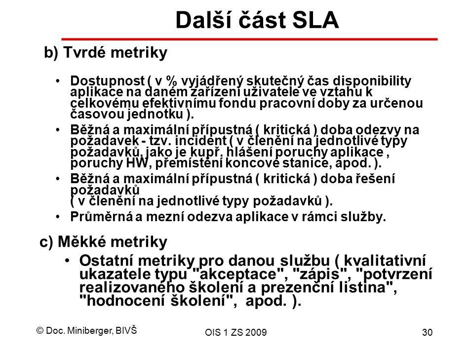 Další část SLA b) Tvrdé metriky c) Měkké metriky