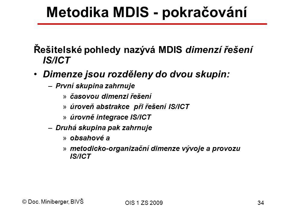 Metodika MDIS - pokračování