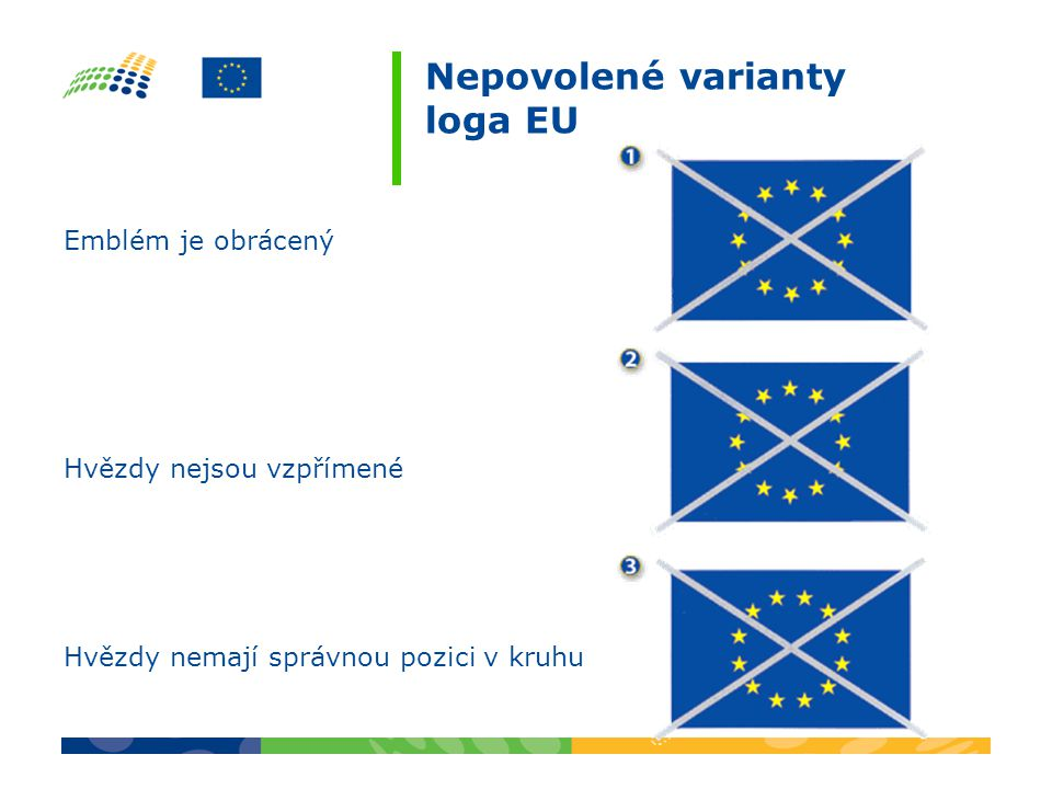 Nepovolené varianty loga EU