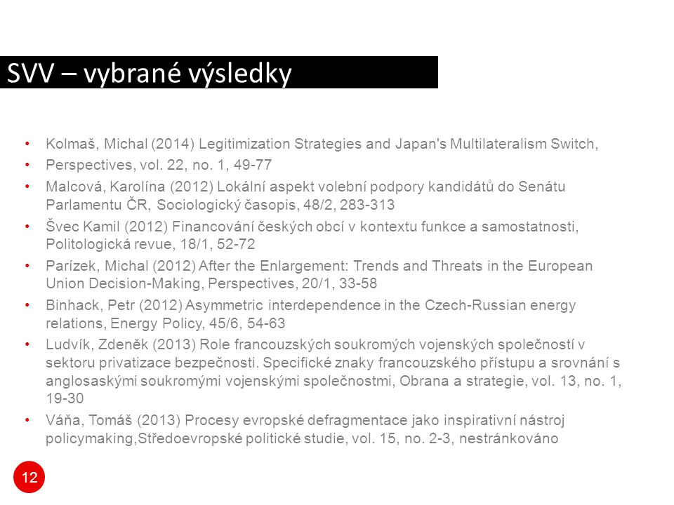 SVV – vybrané výsledky Kolmaš, Michal (2014) Legitimization Strategies and Japan s Multilateralism Switch,