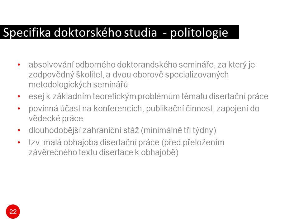 Specifika doktorského studia - politologie
