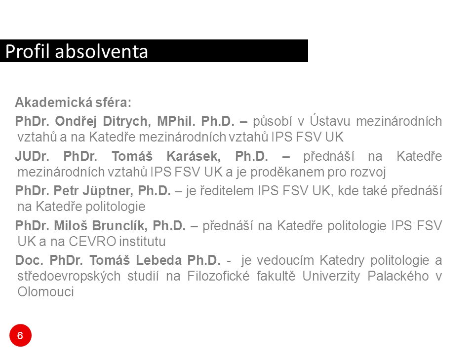 Profil absolventa Akademická sféra: