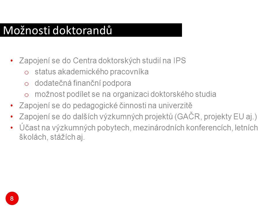 Možnosti doktorandů Zapojení se do Centra doktorských studií na IPS
