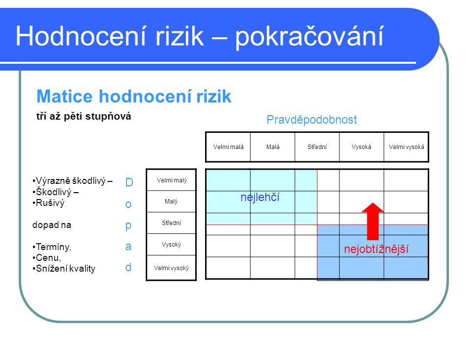 Hodnocení rizik – pokračování
