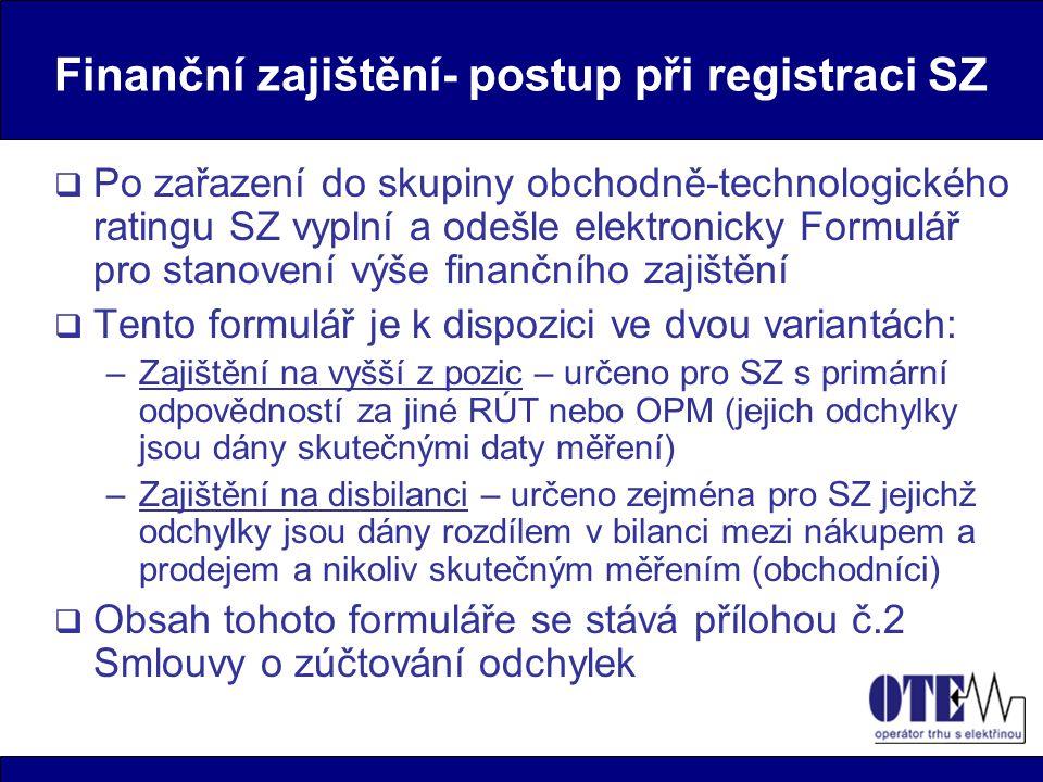Finanční zajištění- postup při registraci SZ