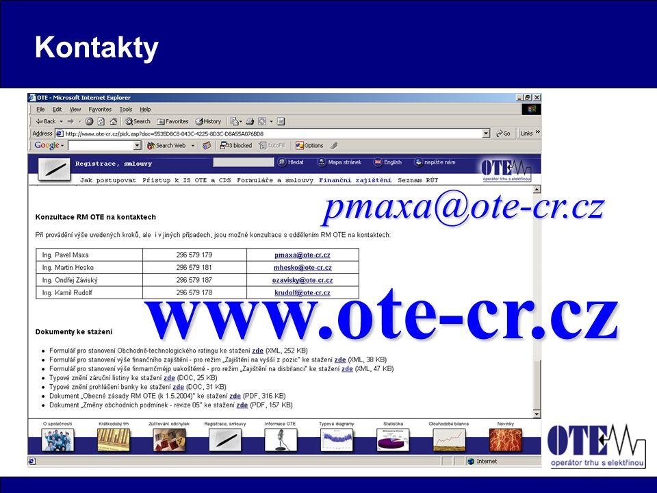 Kontakty pmaxa@ote-cr.cz www.ote-cr.cz