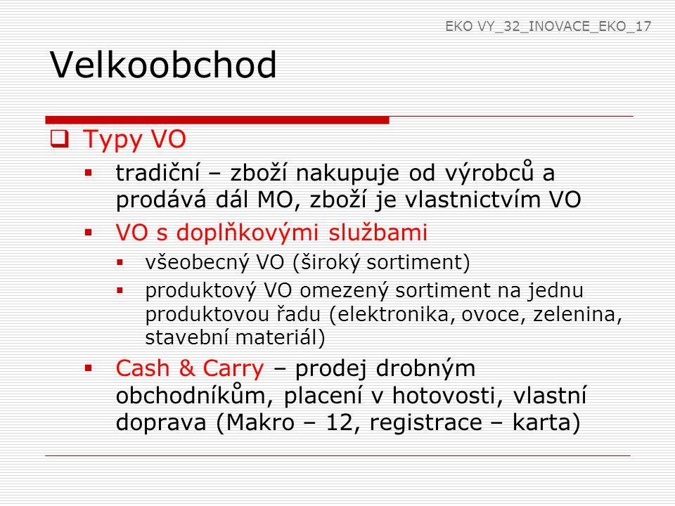 EKO VY_32_INOVACE_EKO_17 Velkoobchod. Typy VO. tradiční – zboží nakupuje od výrobců a prodává dál MO, zboží je vlastnictvím VO.