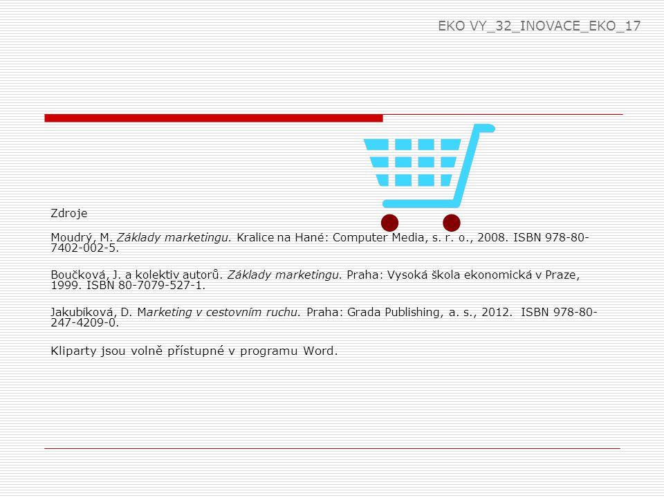 EKO VY_32_INOVACE_EKO_17 Zdroje. Moudrý, M. Základy marketingu. Kralice na Hané: Computer Media, s. r. o., 2008. ISBN 978-80-7402-002-5.