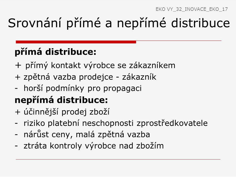 Srovnání přímé a nepřímé distribuce
