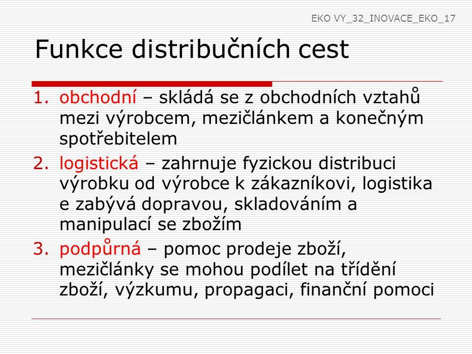 Funkce distribučních cest