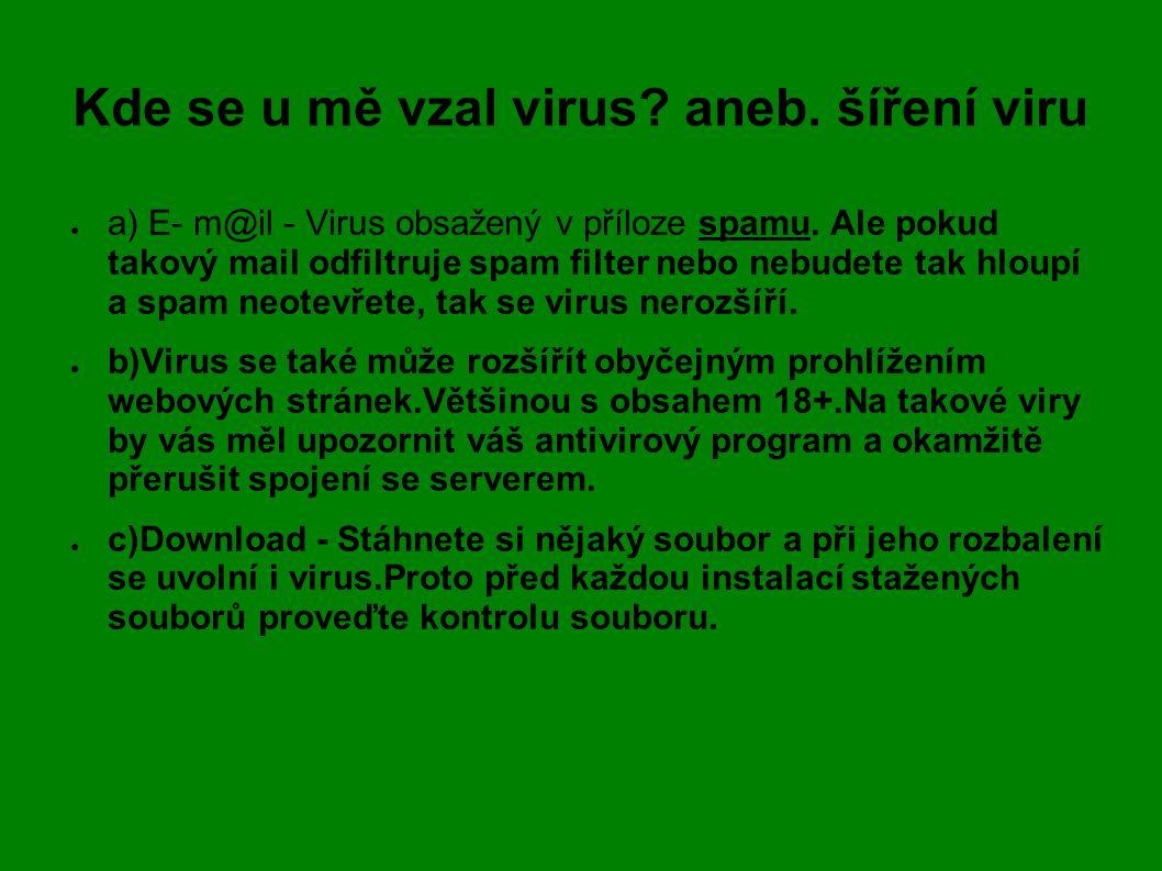 Kde se u mě vzal virus aneb. šíření viru