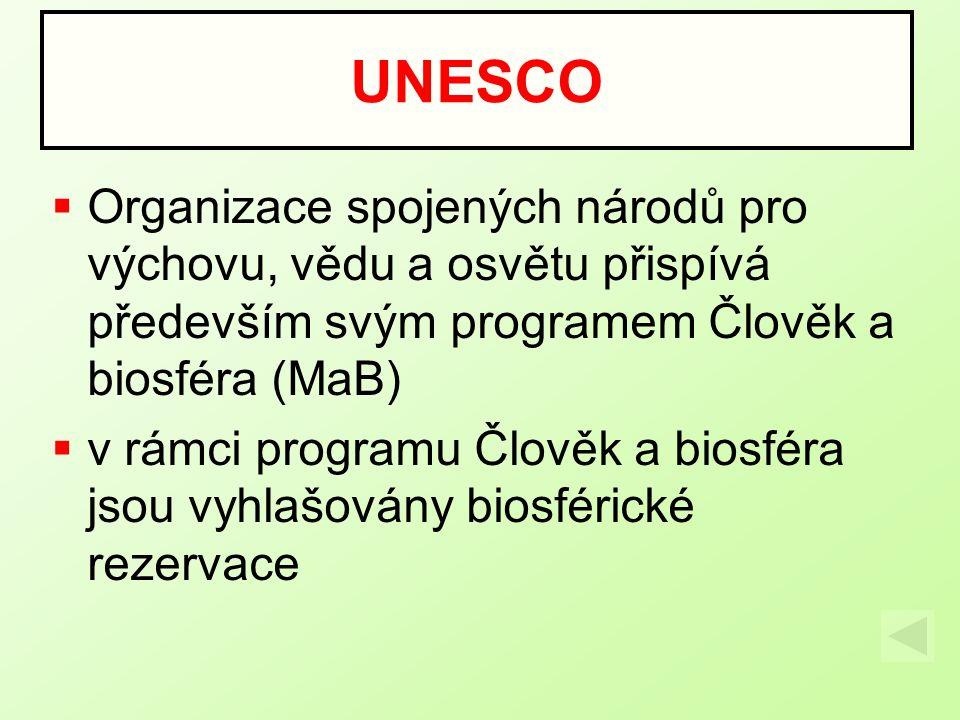 UNESCO Organizace spojených národů pro výchovu, vědu a osvětu přispívá především svým programem Člověk a biosféra (MaB)