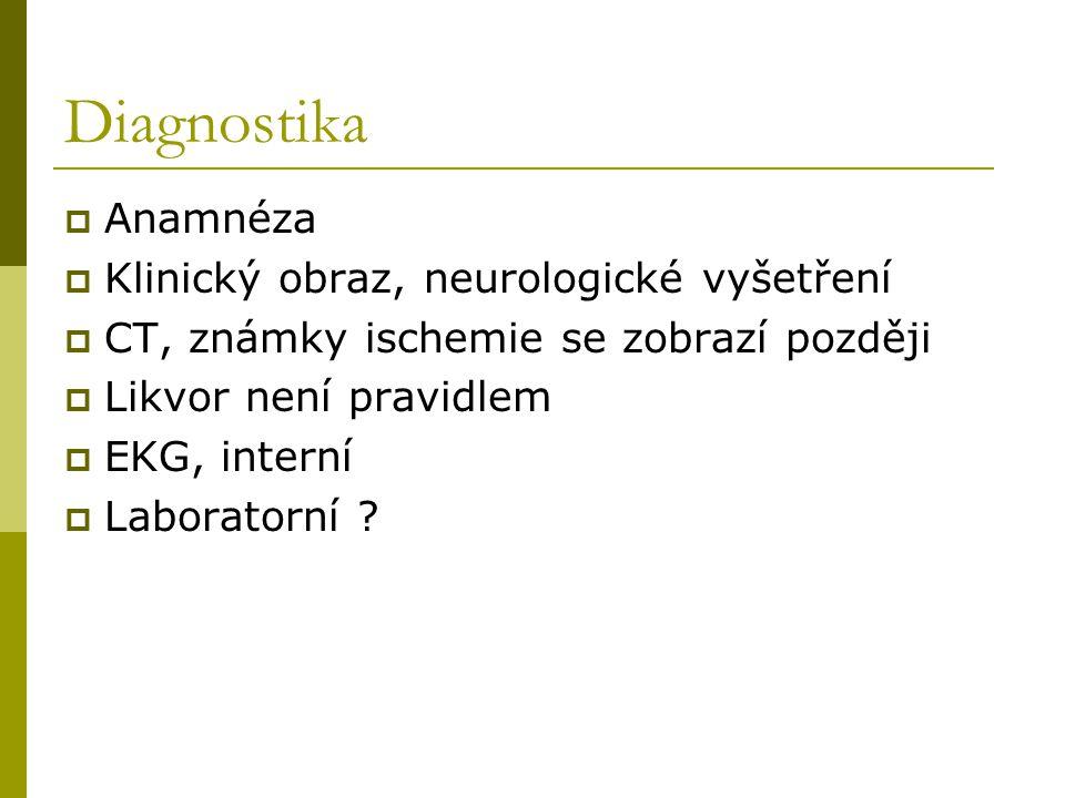 Diagnostika Anamnéza Klinický obraz, neurologické vyšetření