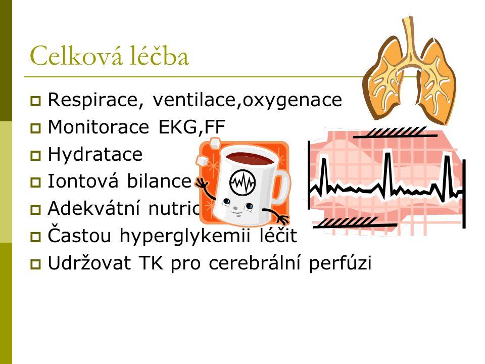 Celková léčba Respirace, ventilace,oxygenace Monitorace EKG,FF