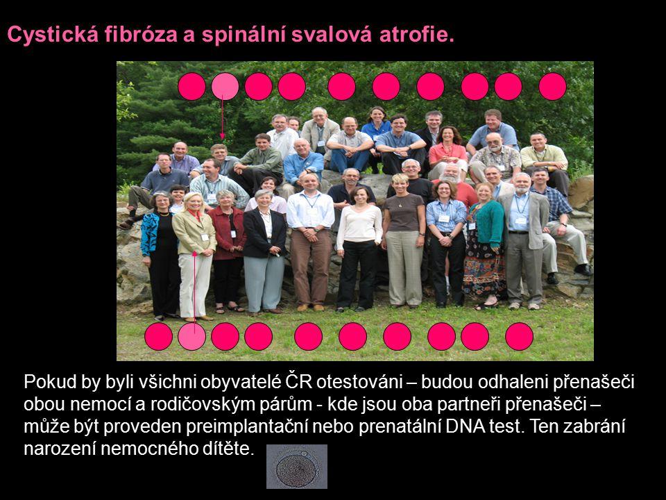 Cystická fibróza a spinální svalová atrofie.