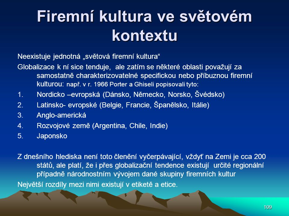 Firemní kultura ve světovém kontextu