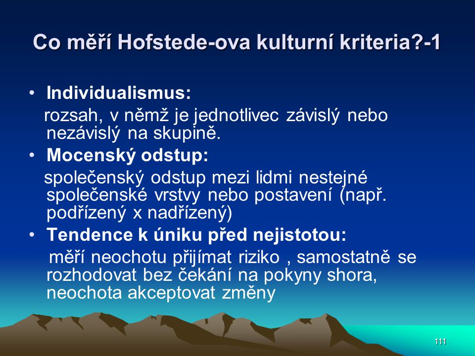 Co měří Hofstede-ova kulturní kriteria -1