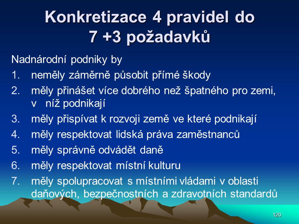 Konkretizace 4 pravidel do 7 +3 požadavků
