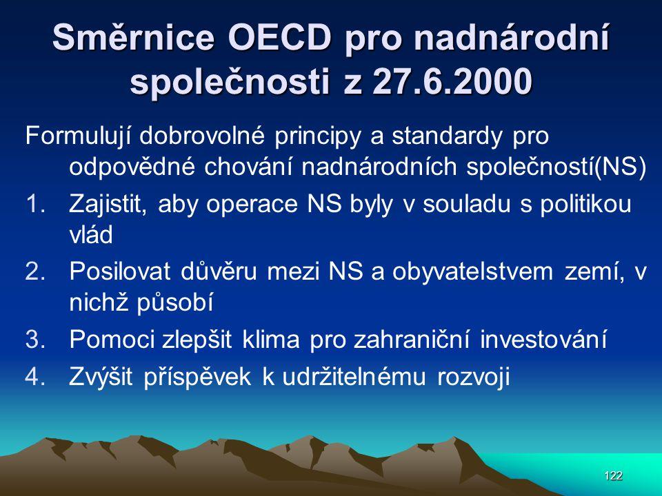 Směrnice OECD pro nadnárodní společnosti z 27.6.2000