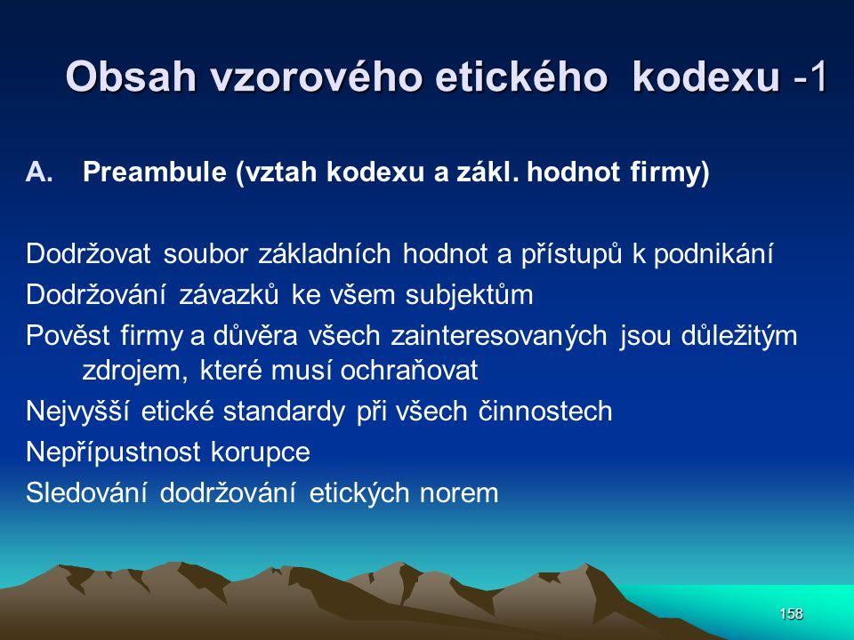 Obsah vzorového etického kodexu -1