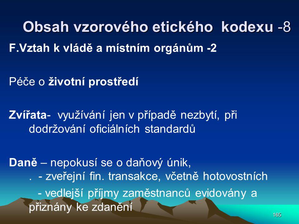 Obsah vzorového etického kodexu -8