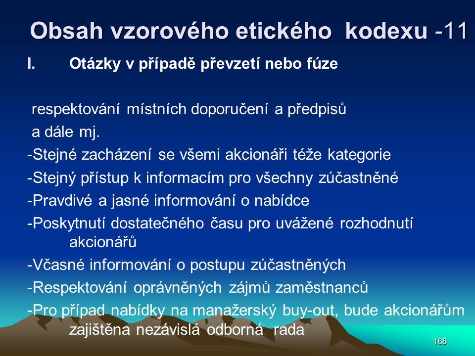 Obsah vzorového etického kodexu -11