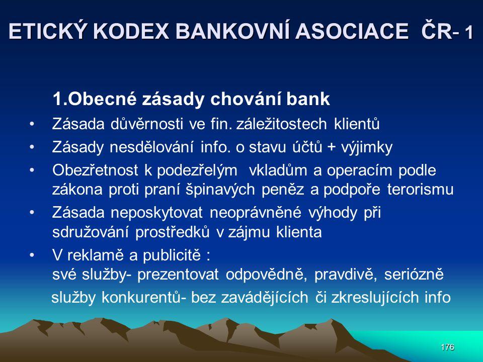 ETICKÝ KODEX BANKOVNÍ ASOCIACE ČR- 1
