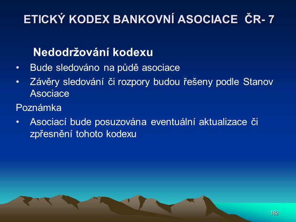 ETICKÝ KODEX BANKOVNÍ ASOCIACE ČR- 7