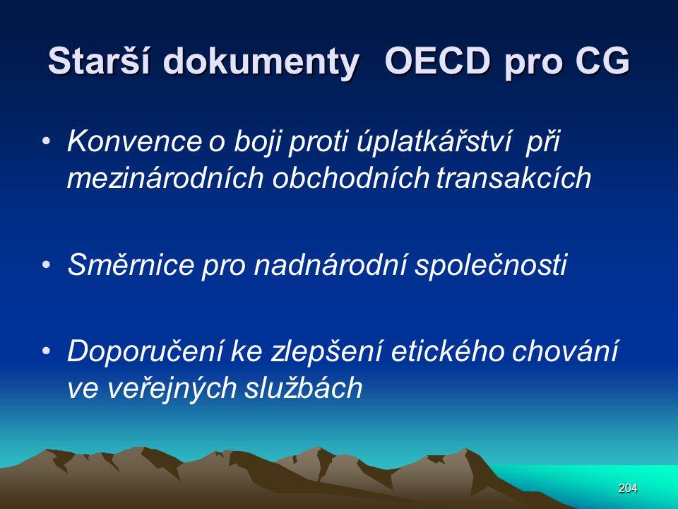 Starší dokumenty OECD pro CG