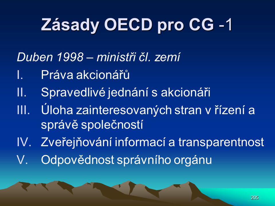 Zásady OECD pro CG -1 Duben 1998 – ministři čl. zemí Práva akcionářů